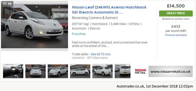 Used Nissan Leaf Acenta, from Autotrader.co.uk