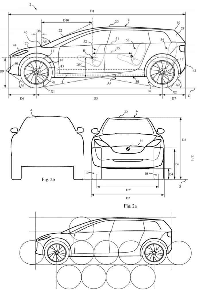 Diagrams from Dyson patent WO/2019/086847 which contains some ideas from Dyson about their electric car design.