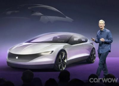 A mock-up of an Apple iCar (concept) from CarWow