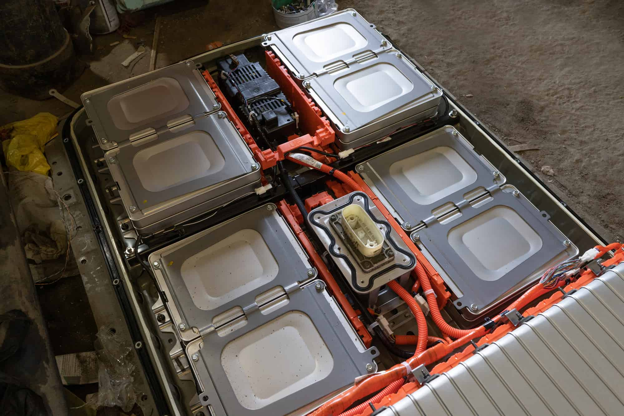 Demounted battery from electric car Nissan Leaf. Cells of high voltage battery from Kiev, Ukraine.