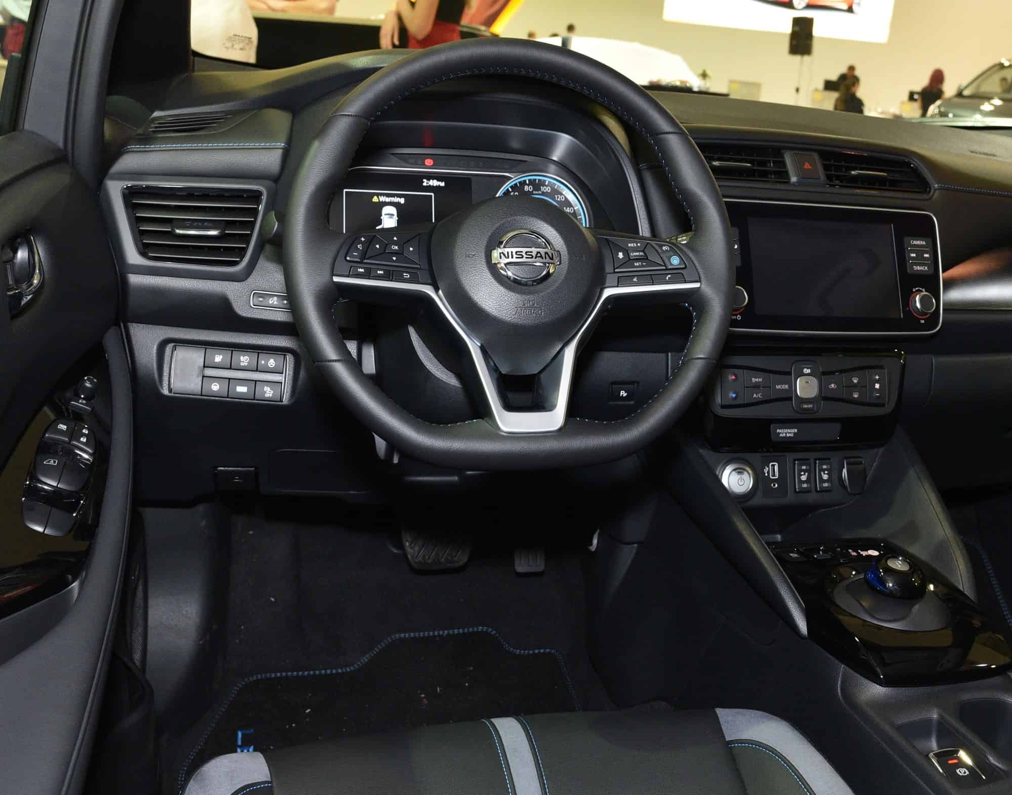 Close up of the Nissan Leaf cabin