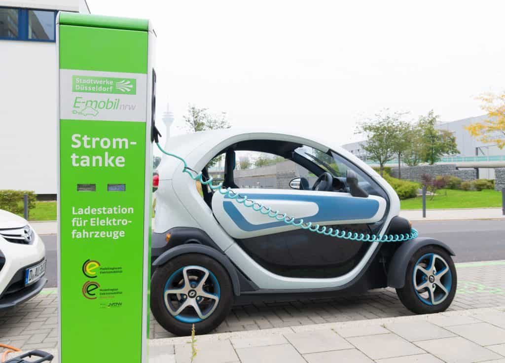 Renault Twizy electric car being charged up in Dusseldorf, Germany