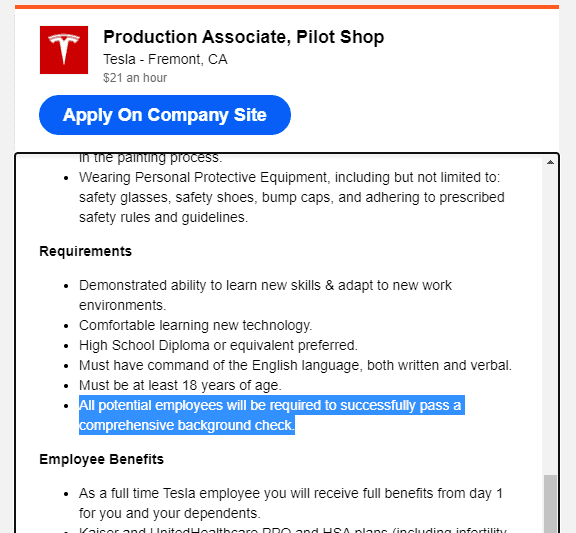 Telsa background check mentioned in a job advert