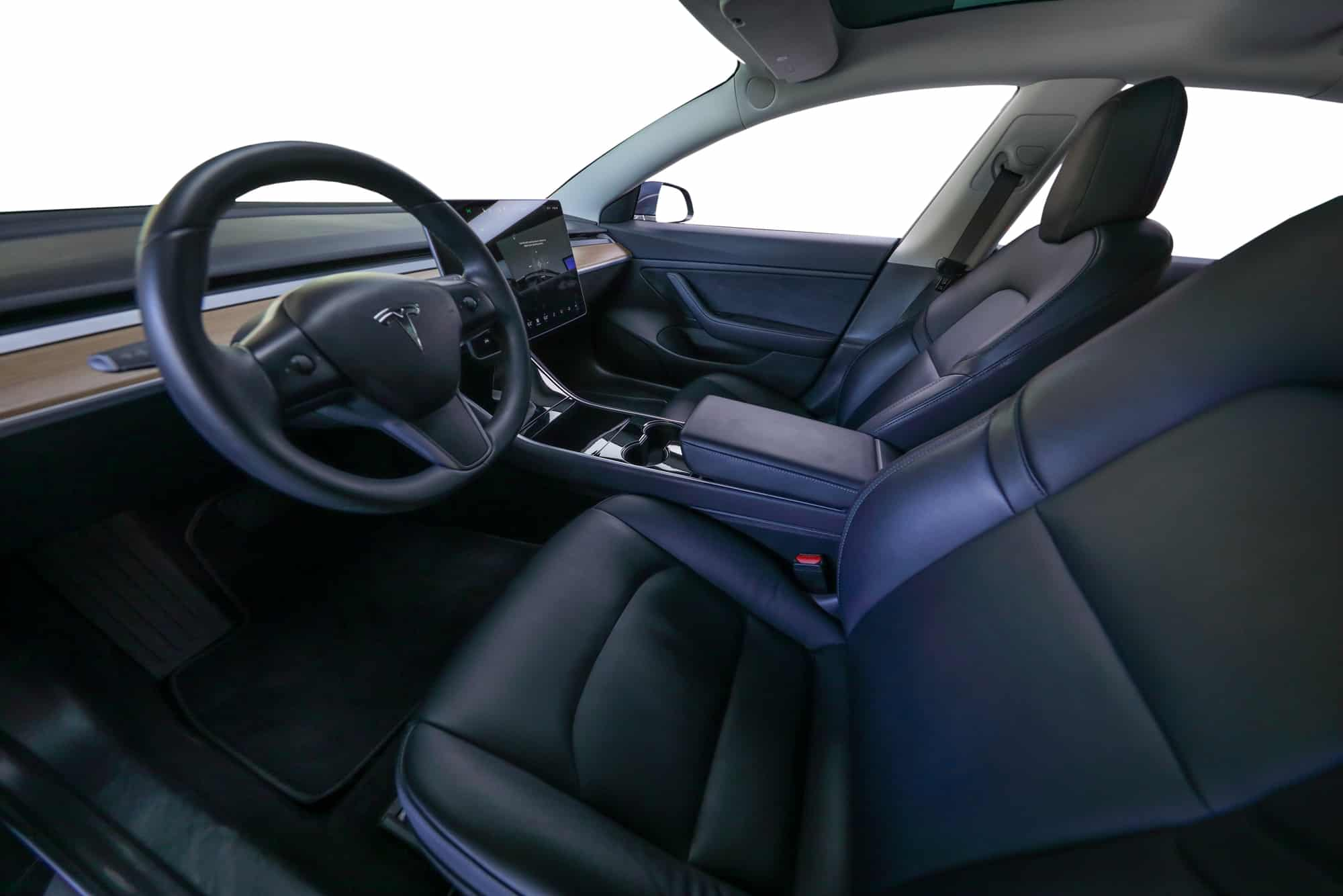 The seats within a Tesla Model 3