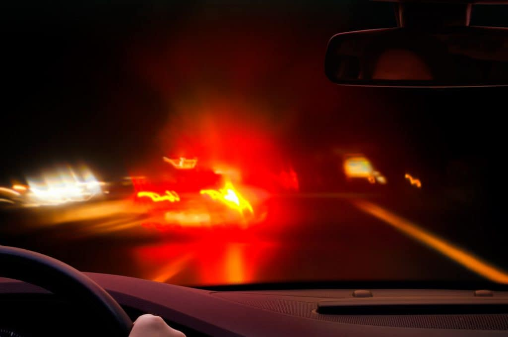 Brake lights showing in dark rainy conditions