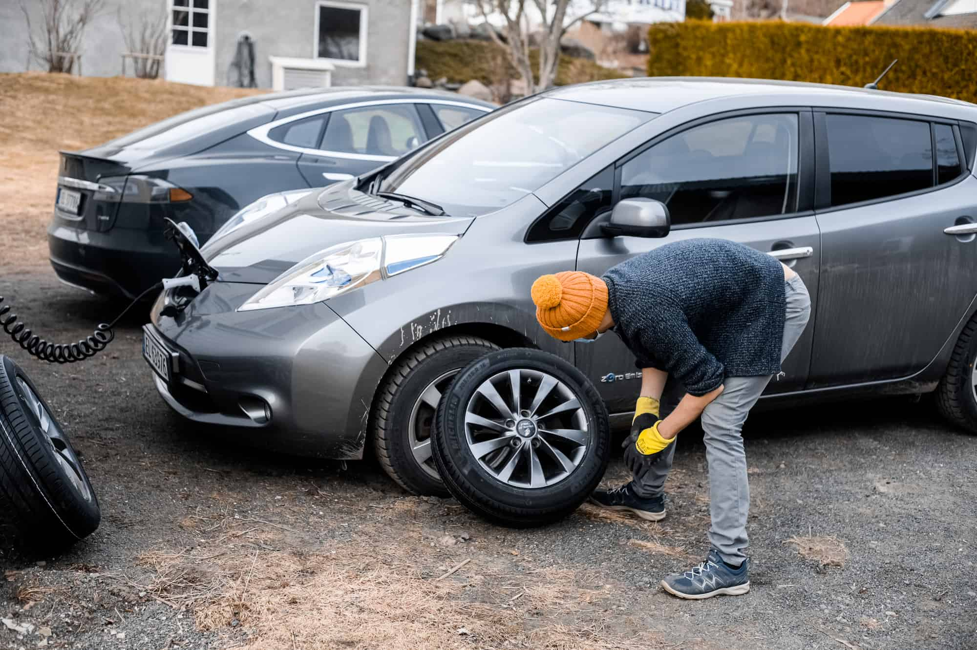 Nissan Leaf tire being changed