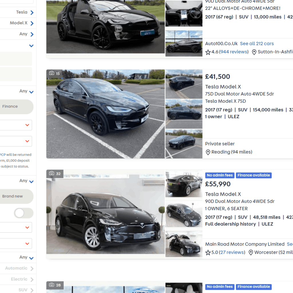 Used Tesla models on AutoTrader one with over 100000 miles