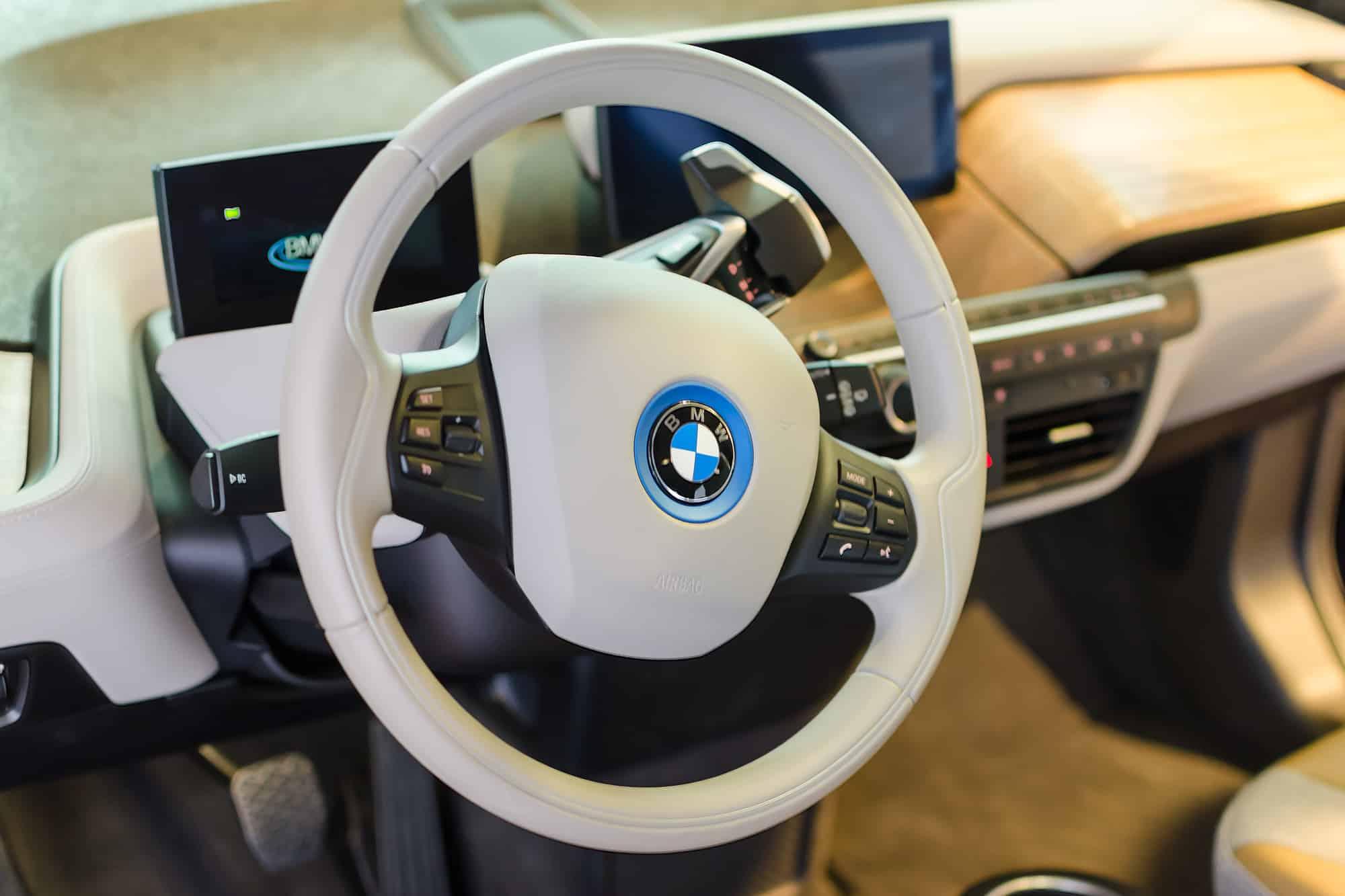 BMW i3 white interior of cabin