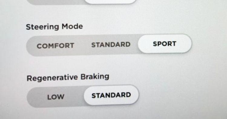 Tesla regen braking and steering mode options