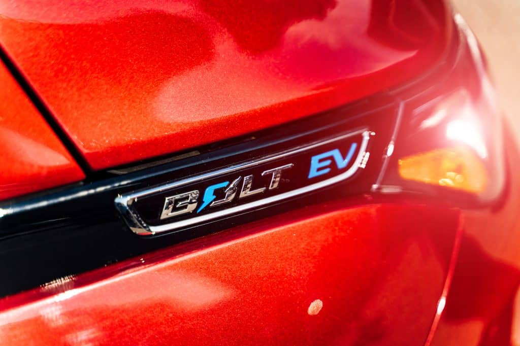 The sign of a Chevy Bolt EV