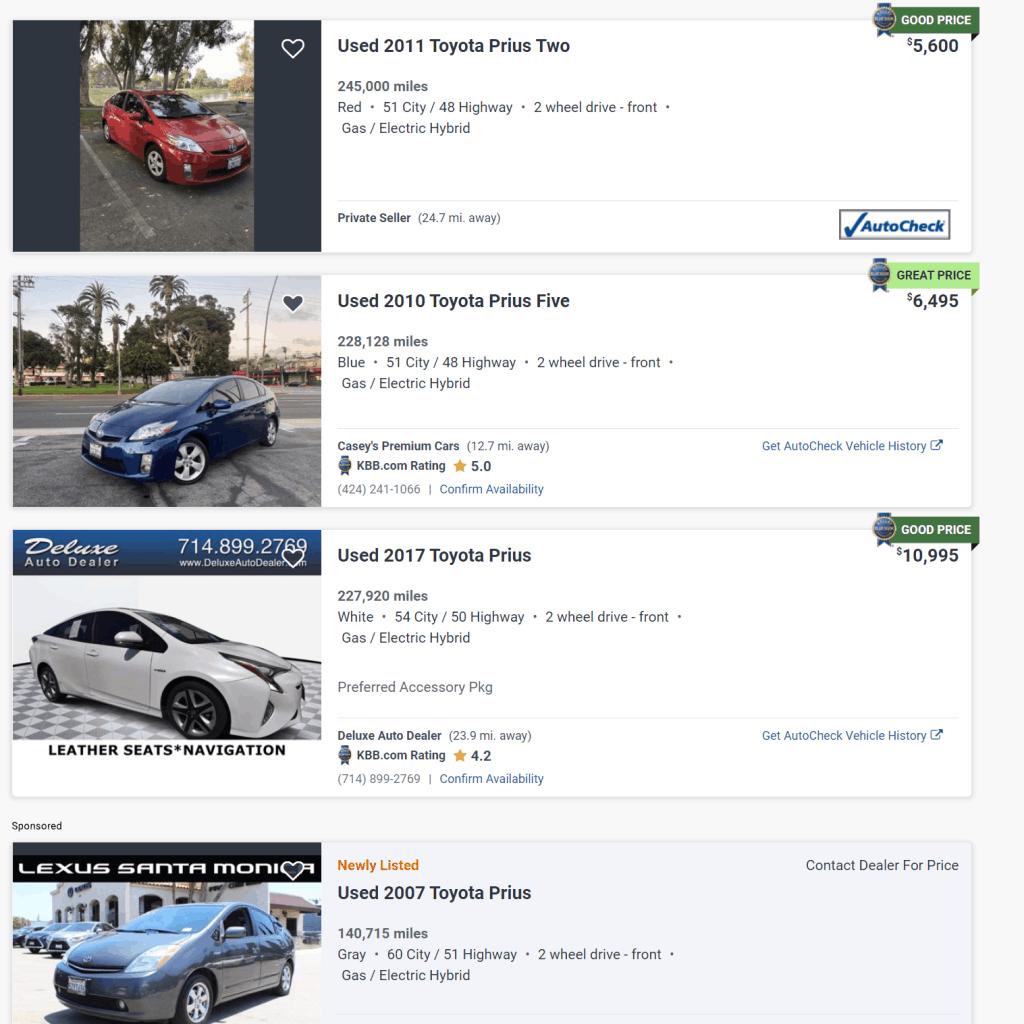 High mileage used Toyota Prius prices on Auto Trader
