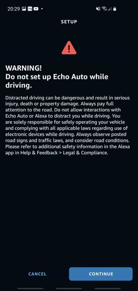 A warning not to add the Echo Auto device whilst driving your car