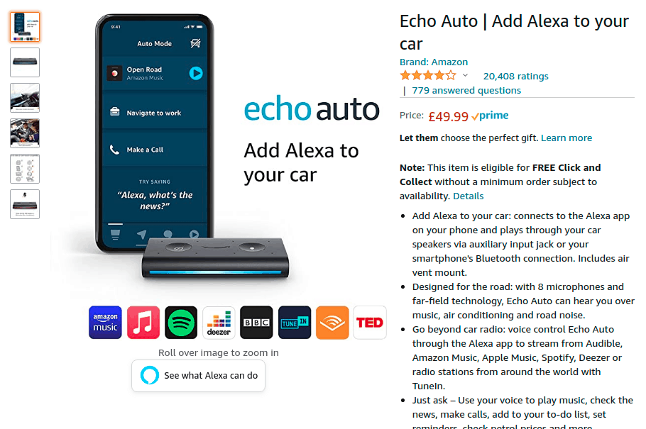 Amazon Echo Auto sales listing on Amazon.co .uk