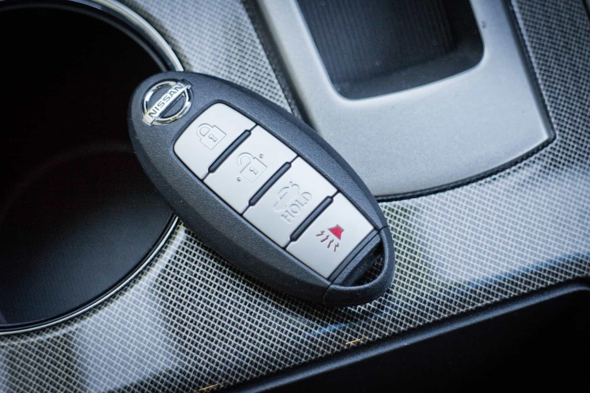 Nissan key fob inside a Nissan car