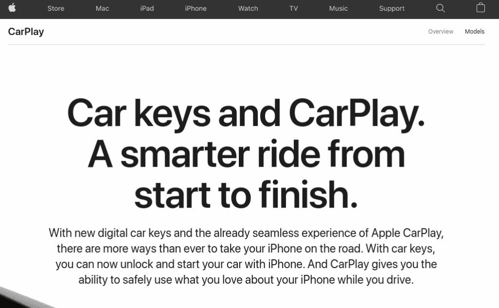 Screenshot from the Apple CarPlay webpage