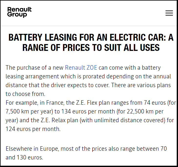 The renault.com website explaining the current leasing scheme
