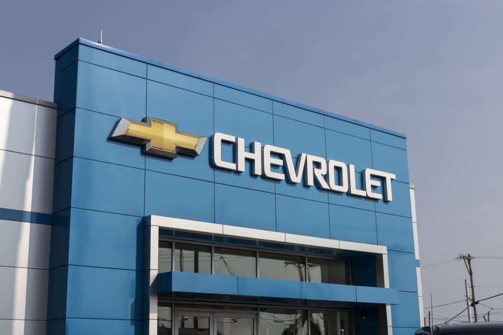 The sign outside a Chevrolet dealership
