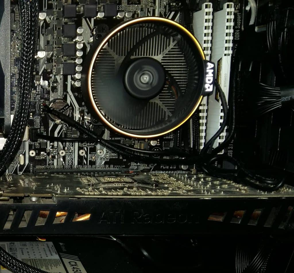 A CPU cooling fan with various metal fins to help heat dissipation